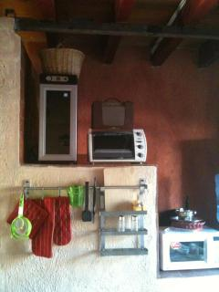 The wine cooler, the toast oven, the microwace, etc.