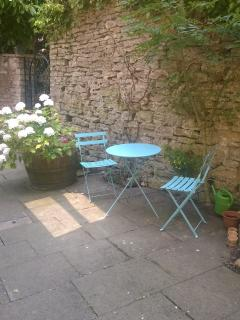 Table and chairs outside Cottage front door - perfect for relaxing!