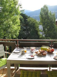 Breakfast in the sunshine on the balcony