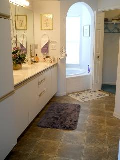 Luxury baths with separate shower and jacuzzi tub. Massive closet. Room to dance!