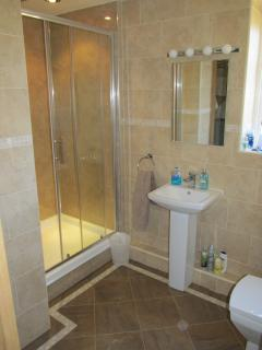 Bathroom with mains power shower