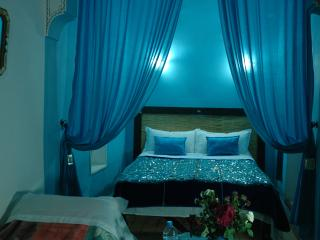 Turquoise blue room in private riad