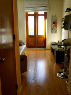 Hardwood floors throughout the apartment