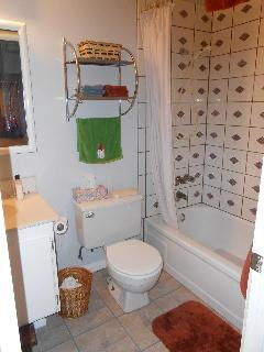 Hallway bathroom tub and shower