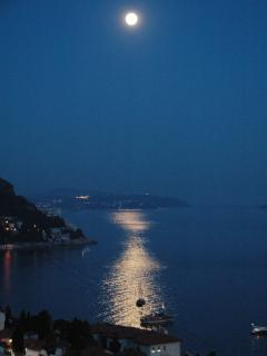 View on the sea from balcony at night.