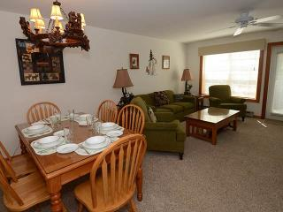 Main floor offers living, dining, kitchen and ski storage entryway.