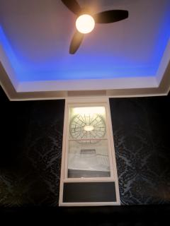 Bedroom Mood lighting and a fan for those hot Polish summer nights....