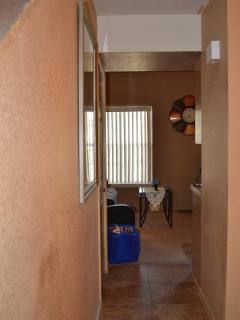 Entryway hallway into living room