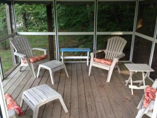 Inside the screened-in porch.