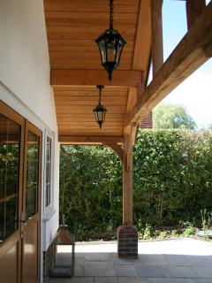 Oak frame entrance with lights