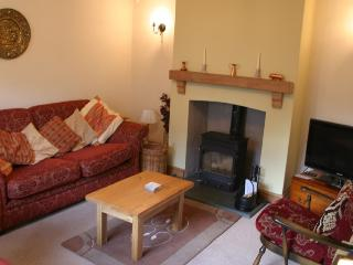 The lounge with seating arranged around the log burning stove.