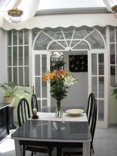 indoor dinning room with skylight