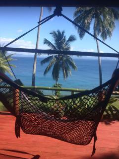2 huge hammocks on deck