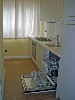fully equipped kitchen with dishwasher, washing machine, oven, gas hob, microwave