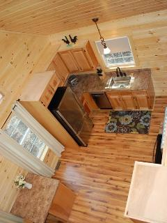 View from loft to kitchen below.