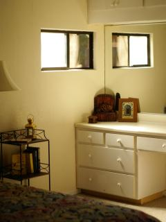 Master - has lighted vanity with seating chair