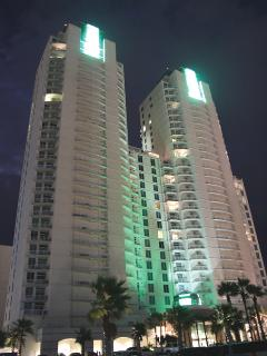 The majestic Sapphire towers at night
