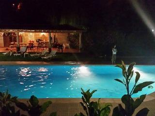 Piscine et barbecue, vue de nuit