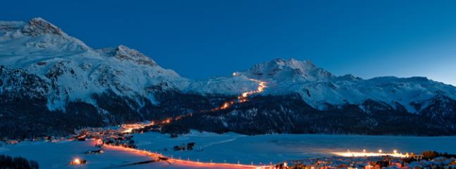 Surlej - the ski trail lit for night skiing on Corvatsch