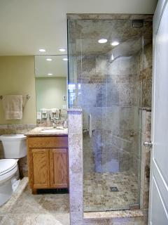 marble top vanity tile/glass shower