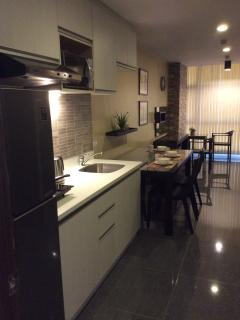 view from entrance showing the whole unit. 8.2 cu ft refrigerator, induction cooker, microwave