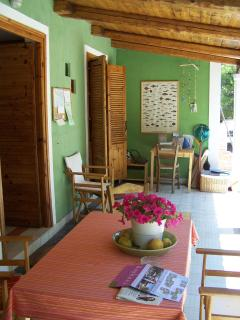 The reception and library with free WiFI and games, yoga mats, beach gear and more.