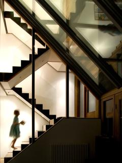 Stunning floating staircase of steel & glass