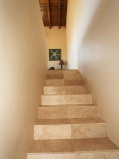Stairs to the upper Familyroom and access to the private deck and plunge pool