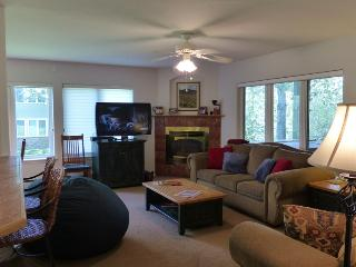 Mustang Run: Living room with gas log fireplace & 47' TV