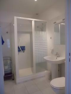En suite shower room for ground floor bedroom, with grab handles in shower and by toilet