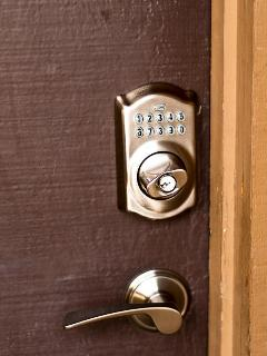 Front door: keypad deadbolt lock = no keys!