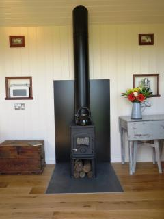 Wood burning stove whatever the weather you are guaranteed to be warm and snug in Lens Hut.