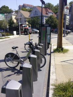 Hubway bikes across from Wholefoods, 5 minute walk
