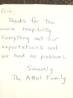 Another satisfied guest in January 2014 :-)