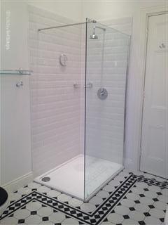 Large shower in Bathroom.