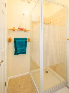 Shower room with towel rail