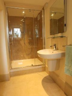 Shower room with underfloor heating.