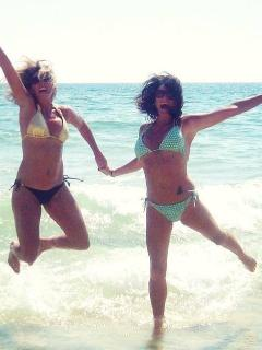 Tamara (my daughter) & her friend having fun in the sun at The Beach Club