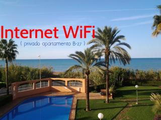 DENIA-FLAMINGO-FRONTAL AL MAR-DIRECTO A PLAYA- ARENA-WIFI-PISCINA-JARDIN-PARKING