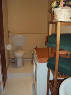 bathroom with tub/washing machine/dryer