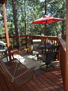 The backyard deck is perfect for breakfast or late afternoon wine.