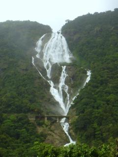 Dudhsagar Falls (literally Sea of Milk) in Goa is a 4-tiered waterfall dropping over 1000 feet
