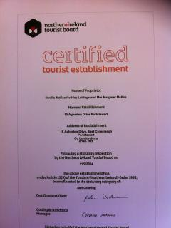 NI Tourist Board Certified