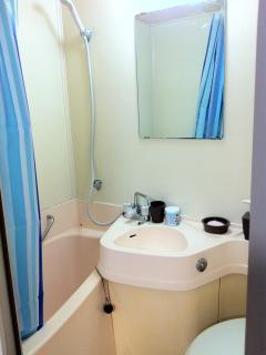 Clean and fully equipped Toilet and bathroom.