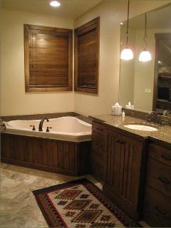 Upper Level Master Bathroom Includes Large Tub and Separate Walk in Shower