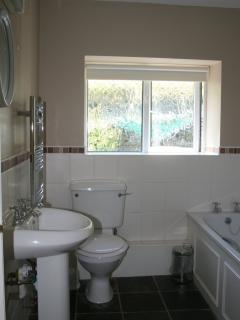 The bathroom, with bath and separate shower cubicle.