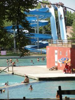 The vertical slides at the water park
