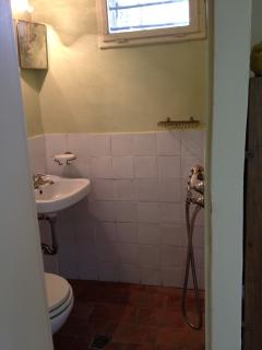 the bathroom with shower in the garden room
