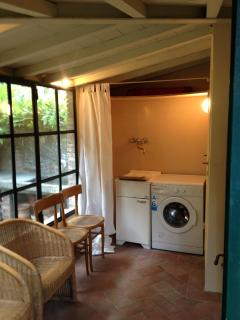 the laundry in the garden room