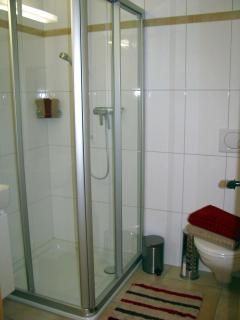 Bathroom 2: Shower, basin and toilet